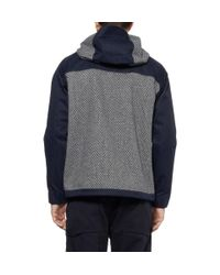 White Mountaineering Gray Patterned Wool-Blend And Canvas Hooded Jacket for men