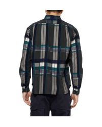 White Mountaineering Green Check Brushed Cotton-Flannel Shirt for men