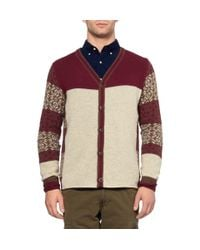 White Mountaineering Natural Patterned Wool And Angora-Blend Cardigan for men
