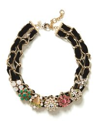 Banana Republic Multicolor Velvet Brooch Necklace