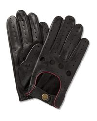 Dents - Black Perforated Leather Driving Gloves for Men - Lyst
