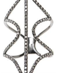 Diane Kordas - White Diamond Gold Open Shield Ring - Lyst
