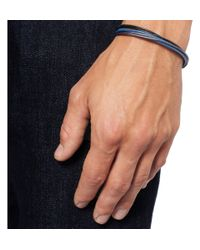 Folk Blue Leather Strand Bracelet for men
