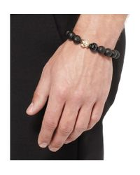 Luis Morais Black Ebony And Gold Skull Bead Bracelet for men