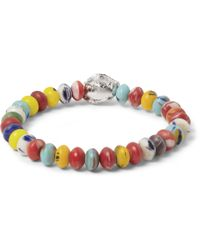 Luis Morais - Yellow White Gold And Bead Bracelet for Men - Lyst