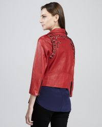 Rebecca Minkoff Red Wes Studded Motorcycle Jacket