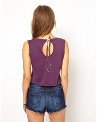 Earth Couture - Purple Oversized Cropped Top with Velvet Tie Back in Organic Cotton - Lyst