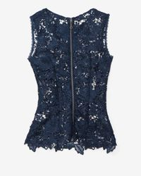 Exclusive For Intermix - Blue Sleeveless Lace Cut Out Top Navy - Lyst