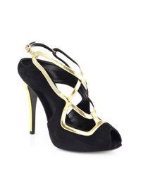 Fendi - Black Aurora Suede Metallic Leather Crisscross Sandals - Lyst