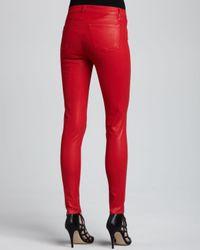 J Brand   Red 815 Adra Midrise Super Skinny Coated Jeans   Lyst