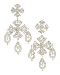 Jude Frances | White Maltese Cross Chandelier Earrings | Lyst