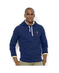 Ralph Lauren Blue Polo Bear Fleece Pullover Hoodie for men