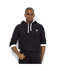 Ralph Lauren Black Polo Bear Fleece Pullover Hoodie for men