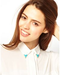 ASOS | Blue Asos Enamel Collar Pins | Lyst