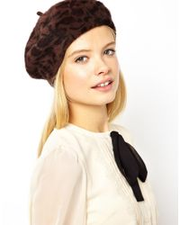 French Connection Multicolor Asos Angora Beret Hat in Leopard