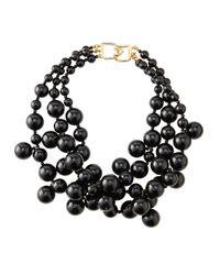 Kenneth Jay Lane Black Beaded Cluster Necklace
