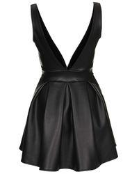TOPSHOP Black Deep V Pu Skater Dress By Oh My Love