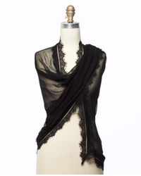 Ann Taylor Black Lace Trimmed Scarf