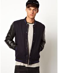 Wrangler Blue Asos Wool Bomber Jacket with Faux Leather Sleeves for men