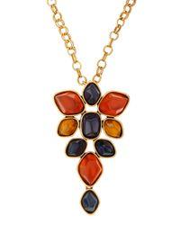 Oscar de la Renta | Multicolor Cluster Pendant Brooch Necklace | Lyst