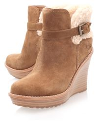 42e4cf13ccba Lyst - UGG Chestnut Anais Wedge Boots in Brown