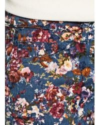 Mango - Blue Slim Fit Floral Print Trousers - Lyst