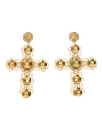 Dolce & Gabbana | Metallic Ornate Crucifix Earrings | Lyst