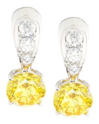 Fantasia by Deserio | Yellow Tapered Canary & White Cubic Zirconia Dangle & Drop Earrings | Lyst