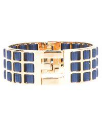 Fendi | Blue Woven Leather Brass Cuff | Lyst