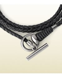 Gucci Black Wrap Leather Bracelet