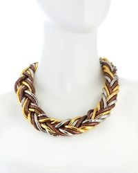 Kenneth Jay Lane - Metallic Tritone Woven Chain Necklace - Lyst