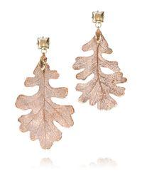Tory Burch | Metallic Oak Leaf Drop Earring | Lyst