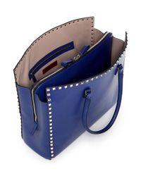 Valentino - Blue Rockstud Leather Tote - Lyst
