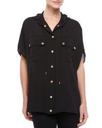 Michael Kors - Black Hooded Oversized Silk Blouse - Lyst