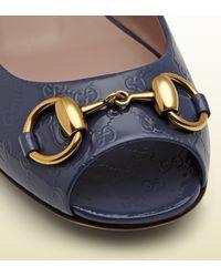 Gucci Blue Jolene Patent Leather Ballet Flat