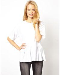 ASOS White Asos Oversized Peplum Tshirt