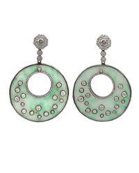 Bochic Green Jade Diamond Round Drop Earrings