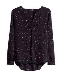 H&M   Black Crinkled Chiffon Blouse   Lyst