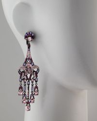Jose & Maria Barrera Purple Crystal Drop Earrings