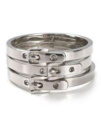 Michael Kors - Metallic Skinny Buckle Rings Set Of 3 - Lyst