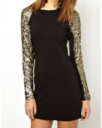 Free People Black One Teaspoon Lucky Star Dress with Sequin Sleeve