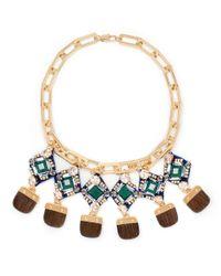 Tory Burch Green Tina Jeweled Necklace