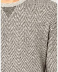 ASOS Gray Sweater with Herringbone Pattern for men