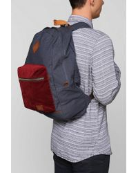 Spurling Lakes Blue Corduroy Patch Backpack for men
