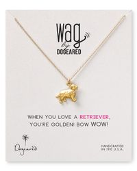 Dogeared Metallic Golden Retriever Pendant Necklace