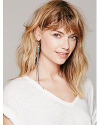 Free People | Green Cluster Chain Long Fringe Earring | Lyst