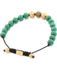 Nialaya   Green Diamond Beaded Bracelet for Men   Lyst