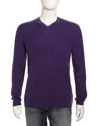 Robert Graham - Cable Vneck Sweater Purple Xxl for Men - Lyst