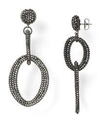 Roni Blanshay Black Crystal Open Link Drop Earrings