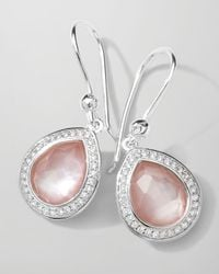 Ippolita Metallic Stella Teardrop Earrings in Pink Motherofpearl Diamonds 28mm